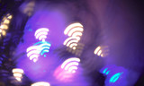 Wifi symbol shaped bokeh lights. Abstract wireless background