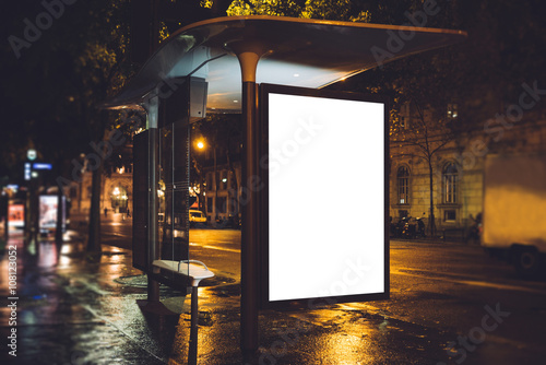 Poster Mock up of light box on the bus stop