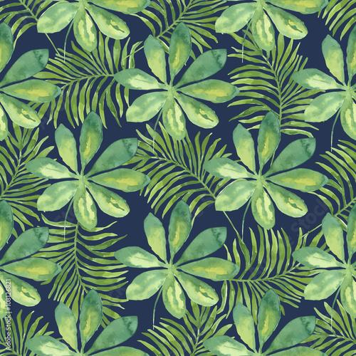 tropikalny-wzor-z-lisci-tlo-akwarela