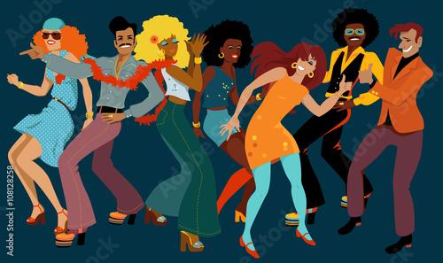 Naklejka People dressed in 1970s fashion dancing disco in a nightclub, EPS 8 vector illustration, no transparencies