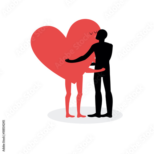 Kiss of lovers. Man hugs heart. Hot kiss on a date. In love with © maryvalery