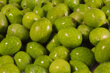 Green olives close-up