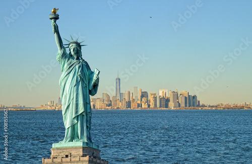 Statue of Liberty and Manhattah skyline.