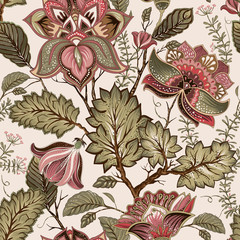 Vintage seamless flowers pattern in provence style