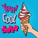 Ice Cream Cone with Comic Style Typography. Pop Art.