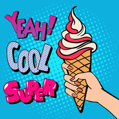 Ice Cream Cone with Comic Style Typography. Pop Art.