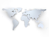 Bend world map on white background with shadow