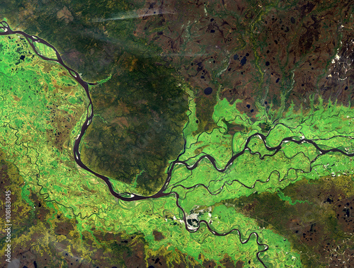 Foto op Canvas Nasa Ob river (summer) from Landsat satellite. Elements of this image furnished by NASA.