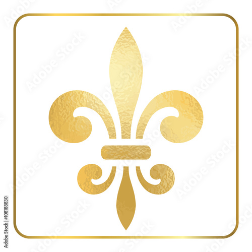Golden Fleur De Lis Heraldic Emblem Gold Foil Sign Isolated On