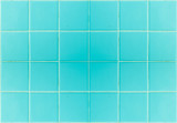 Closeup blue tile in bathroom wall texture background