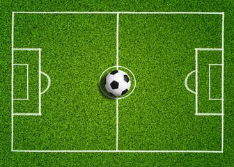 Ball auf Fussballrasen
