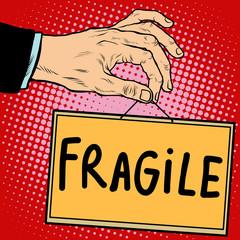 Hand sign fragile