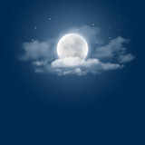 Fototapety Mystical Night sky background with full moon, clouds and stars. Moonlight night. Vector illustration.