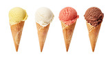 Various ice-cream scoops on white background - 108217613