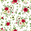 Vector seamless pattern with red, pink and white roses, lisianthuses and anemone flowers and green leaves on a white background.
