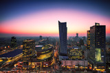 Fototapety View of the center of Warsaw at dusk