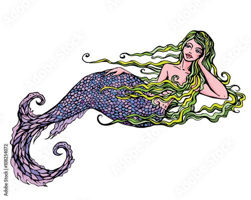 Zdjęcia na płótnie, fototapety, obrazy : Hand drawn Illustration of a Beautiful mermaid girl isolated on