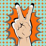 Fototapety Bright v sign hand on orange splash.
