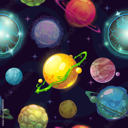 Seamless space pattern with cartoon planets