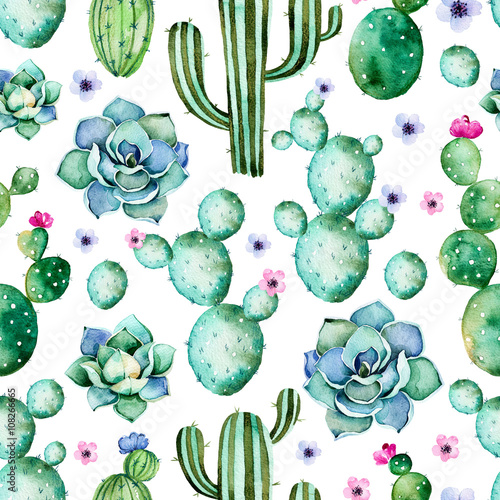 Cotton fabric Seamless pattern with high quality hand painted watercolor cactus plants,succulents and purple flowers.Pastel colors,Perfect for your project,wedding,greeting card,photo,blog,wallpaper,pattern,texture