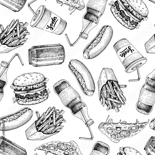 Hand drawn fast food pattern. Junk food and soda drinks backgrou - 108266673