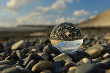 Beach ball, U.K. A crystal ball on a beach. © alagz