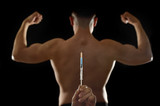 strong back of young body building sportsman using steroids for increasing sport athletic performance