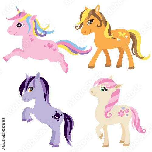 Vector illustration of colorful horse, unicorn, or pony.