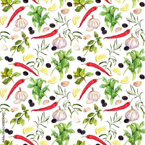 Fototapeta Spices and herbs, Seamless cooking pattern. Watercolor