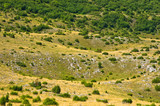 Karst sinkholes, detail from Pester plateau landscape in southwest Serbia
