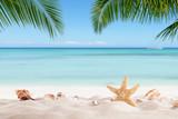 Summer sandy beach with blur ocean on background - Fine Art prints