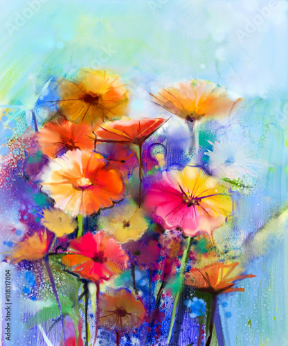 Abstract floral watercolor painting. Hand paint White, Yellow, Pink and Red color of daisy- gerbera flowers in soft color on blue- green color background.Spring flower seasonal nature background - 108317804