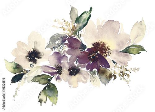 Flowers watercolor illustration - 108326816