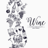 Vector background with hand drawn wine drawings. - 108332486