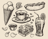Fototapety fast food. hand drawn cup coffee, tea, sandwich, hot dog, soda, lemonade, potato chips, ice cream. sketch vector illustration