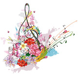Summer music with flowers and butterfly, colorful splashes.