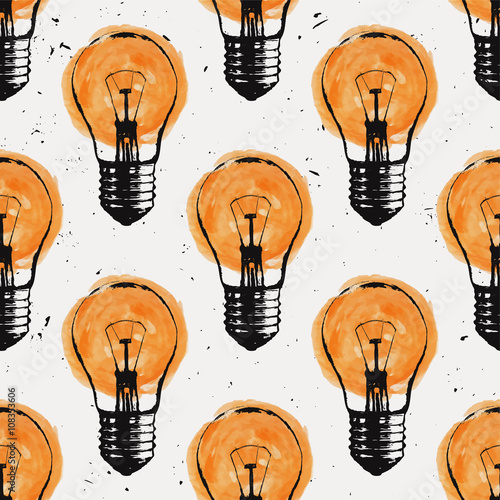 Vector grunge seamless pattern with light bulbs. Modern hipster sketch style. Idea and creative thinking concept. - 108353606
