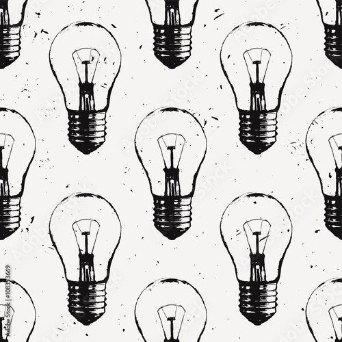 Vector grunge seamless pattern with light bulbs. Modern hipster sketch style. Idea and creative thinking concept. - 108353669