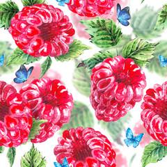 Watercolor raspberries seamless background