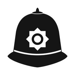 British police helmet icon, simple style