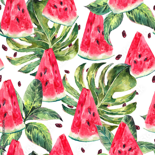 Poster Watercolor seamless pattern with slices of watermelon