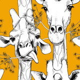 Seamless pattern with the image of giraffes munching grass. Vector black and white illustration. - 108371273