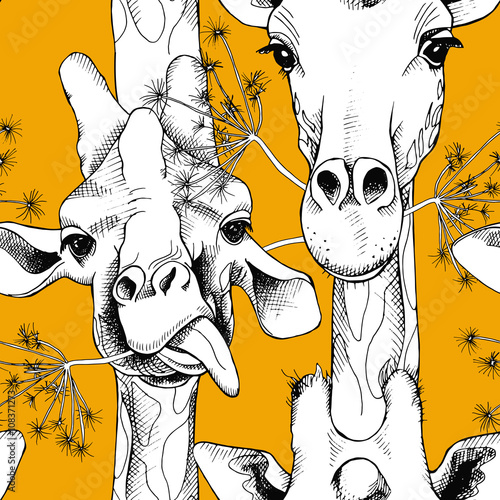 Seamless pattern with the image of giraffes munching grass. Vector black and white illustration.