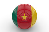 Soccer ball with Cameroon flag; 3d rendering