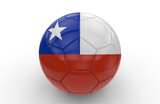 Soccer ball with Chile flag; 3d rendering
