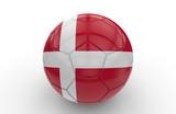 Soccer ball with Denmark flag; 3d rendering