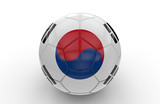 Soccer ball with South Korea flag; 3d rendering