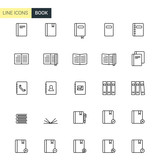 Vector book line icons