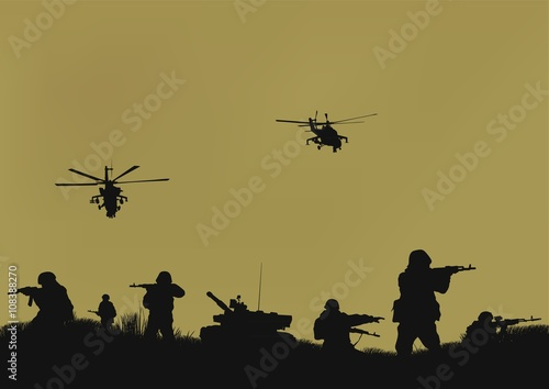 Illustration, the soldiers going to attack and helicopters. Poster