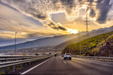 Auto highway with small traffic during sunset on Tenerife island, Spain